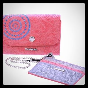 💓Desigual 2 in 1 wallet/card holder in Coral